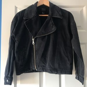 Forever 21 Black Denim Moto Jacket, Size S